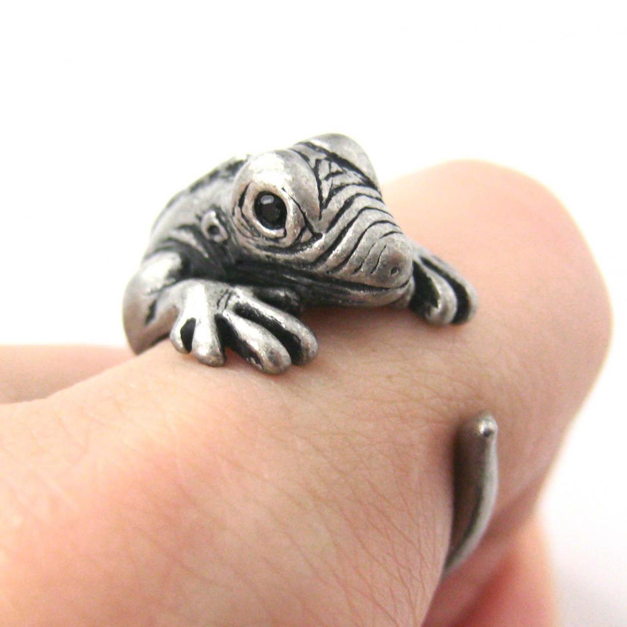 Iguana Chameleon Animal Wrap Ring in Silver Sizes 5 - 9 US Realistic and Cute!