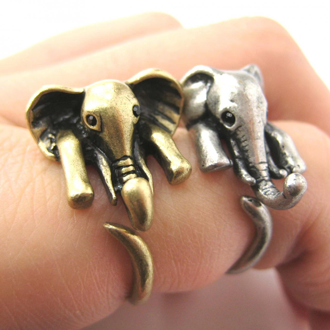 Realistic African Elephant Animal Wrap Ring in Bronze Sizes 6 to 10.5
