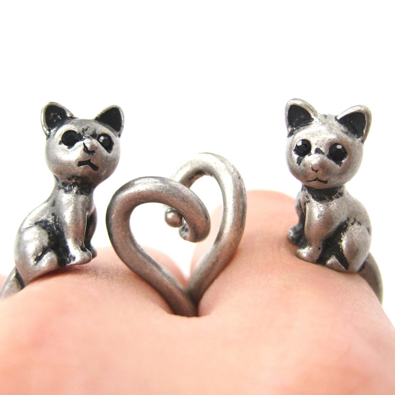 Kitty Cat Left and Right Facing Animal Wrap Ring in Silver - Sizes 4 to 9 Available