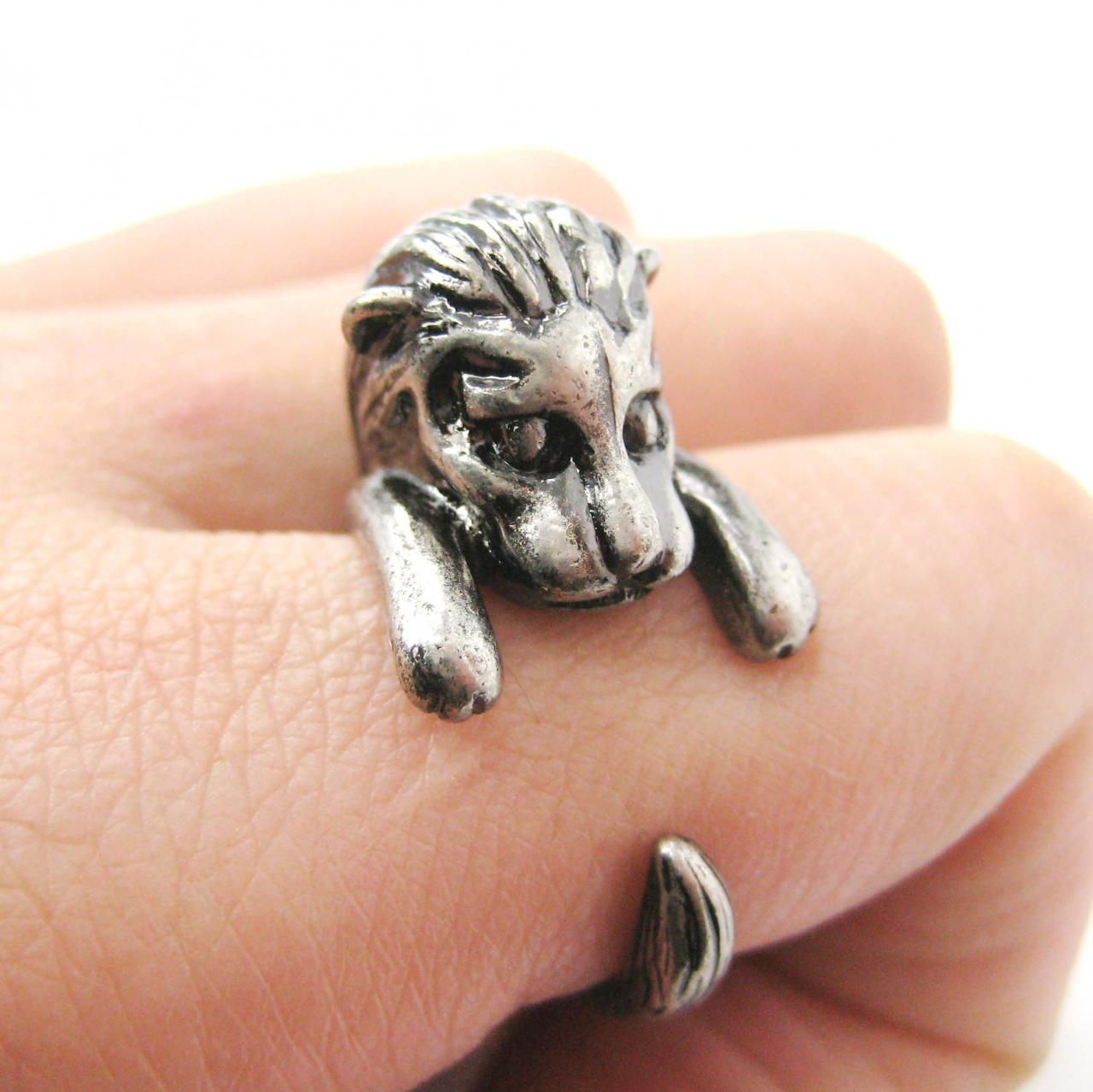 Lion Shaped Animal Wrap Around Ring in Silver - Sizes 7 to 9 Available