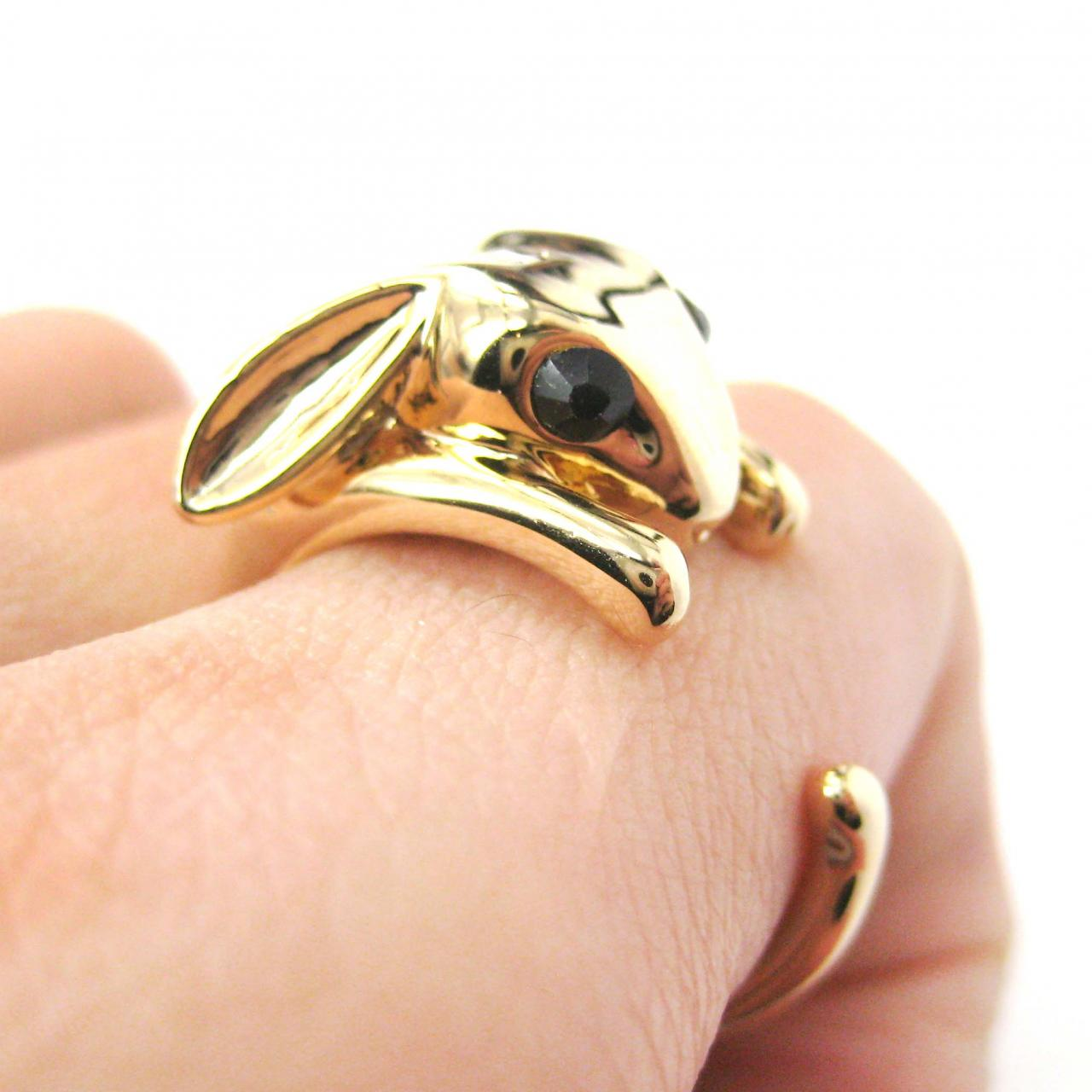 Bunny Rabbit Animal Wrap Ring in Shiny Gold - Sizes 7 to 9 Available