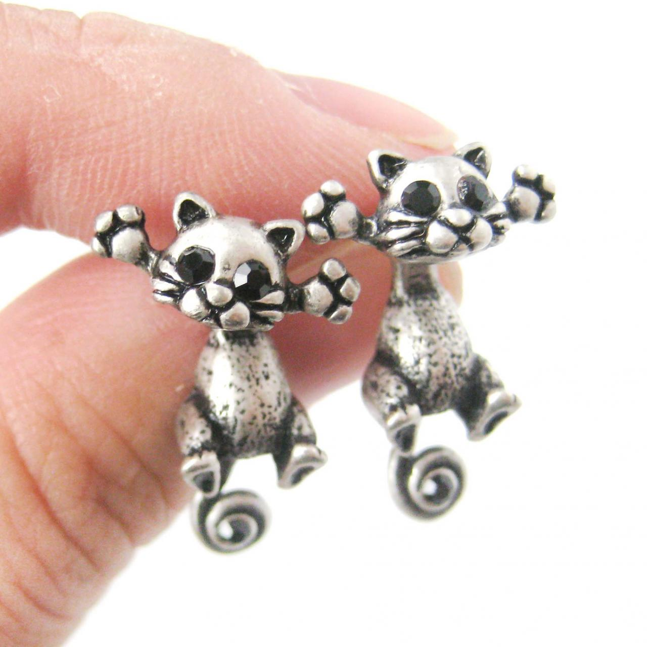 Kitty Cat Shaped Two Part Animal Stud Dangle Earrings in Silver