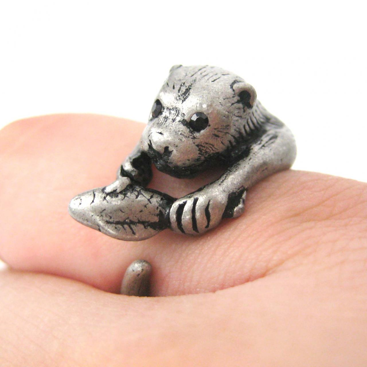 Realistic Otter With Fish Animal Wrap Ring in Silver | Sizes 4 to 9 US Available