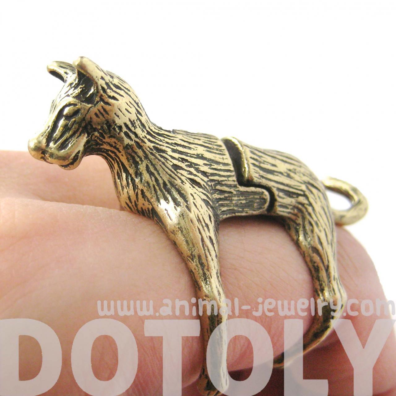 LARGE DOG SHAPED ARMOR JOINT KNUCKLE ANIMAL RING IN BRASS | SIZE 5 TO 9