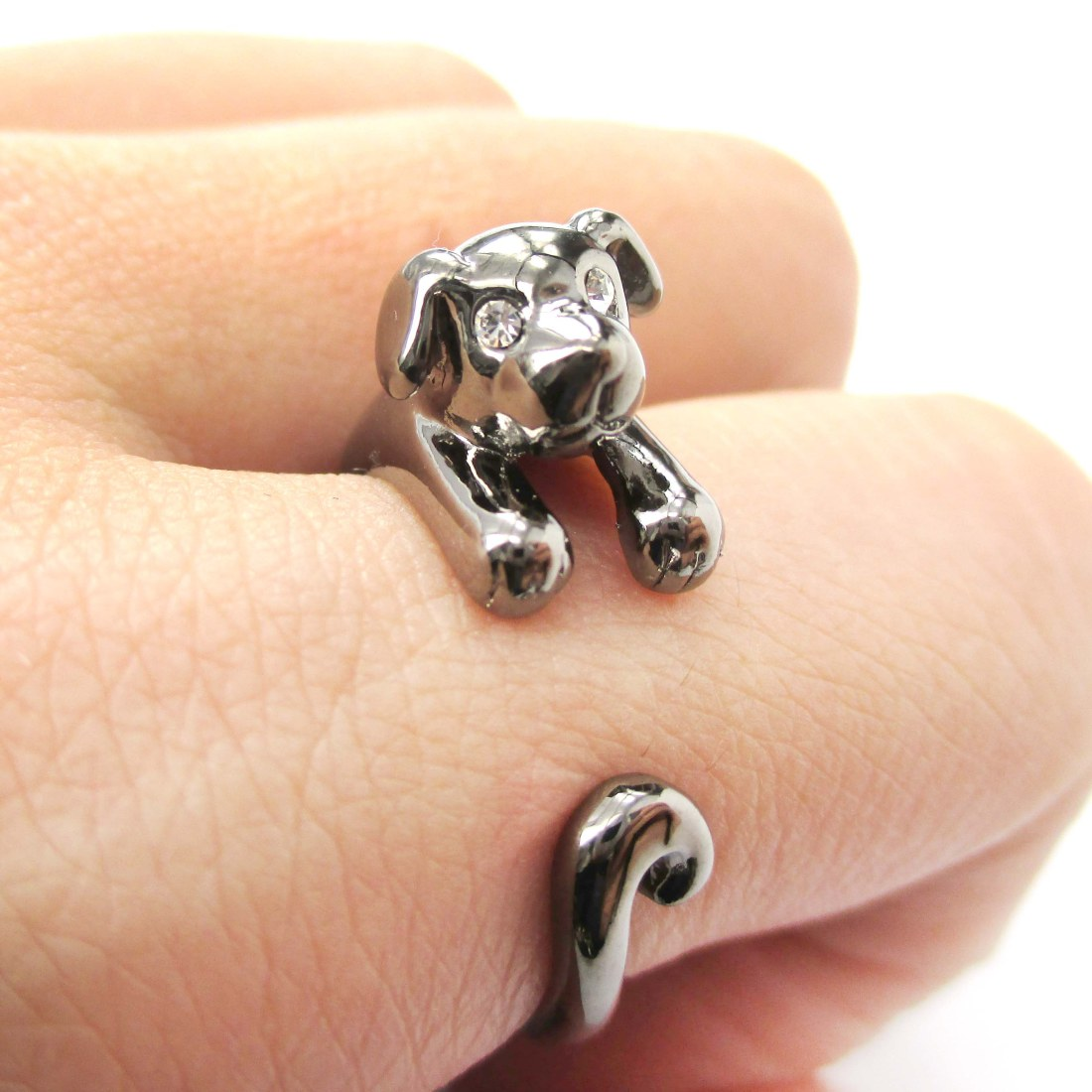Realistic Puppy Dog Animal Pet Wrap Around Ring in Gunmetal Silver Sizes 4 to 9