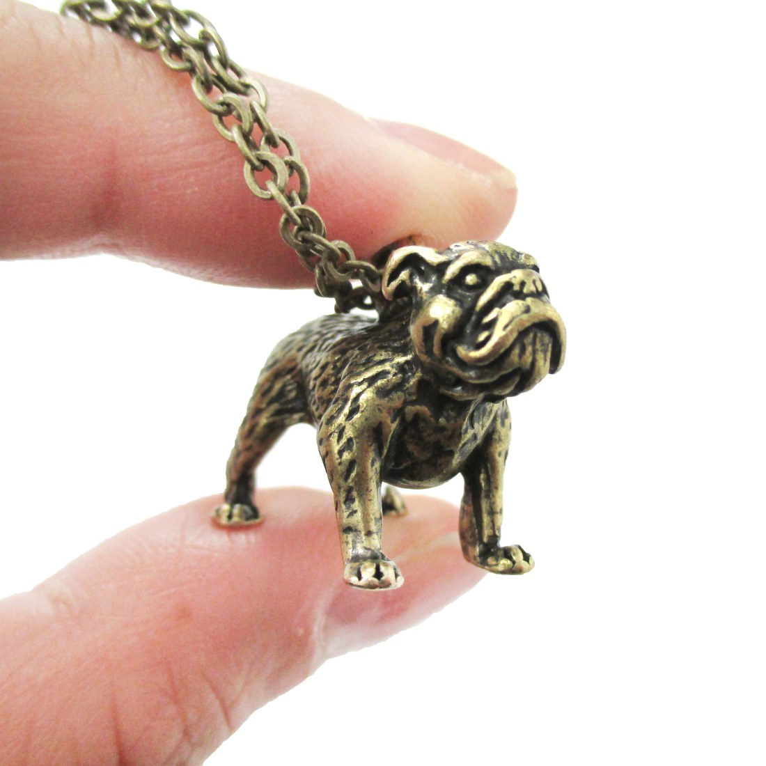 3D Detailed Bulldog Animal Charm Dog Lover Themed Necklace in Brass