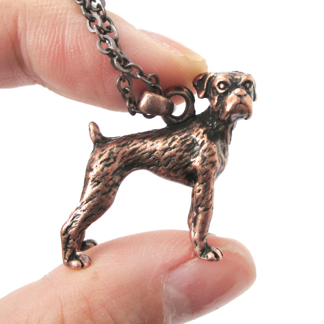 3D Detailed Boxer Dog Animal Charm Dog Lover Themed Necklace in Copper