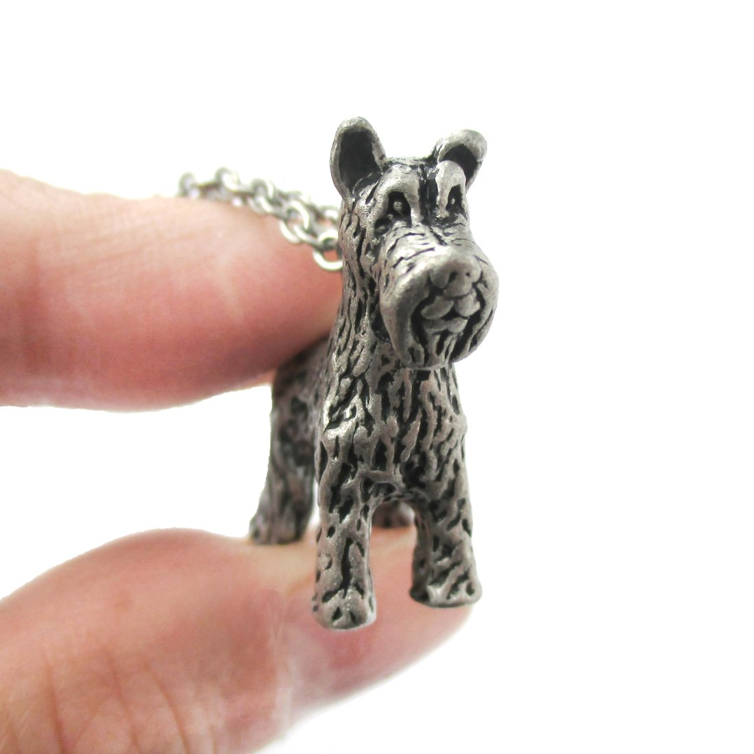 3D Detailed Schnauzer Shaped Dog Lover Animal Charm Necklace in Silver for Women