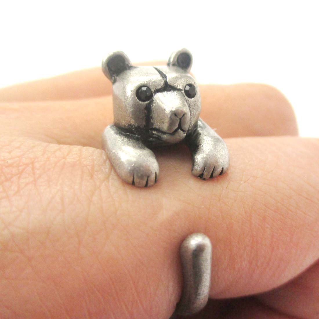3D Miniature Polar Bear Teddy Animal Wrap Hug Ring in Silver - US Size 4 to 8.5