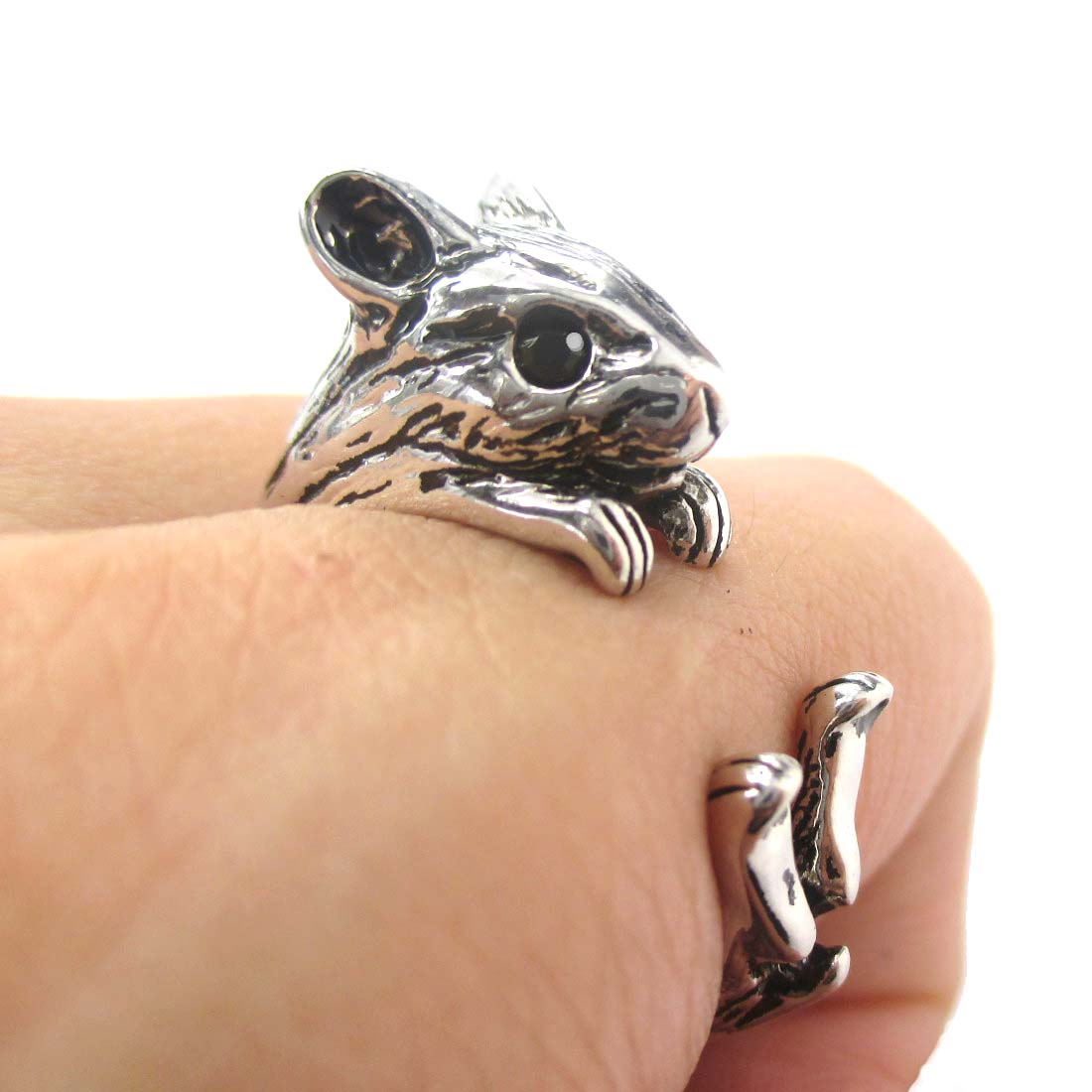 3D Miniature Guinea Pig Hamster Animal Wrap Hug Ring in Shiny Silver - US Size 4 to 8.5