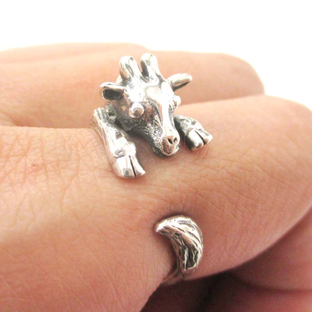 Baby Giraffe Animal Wrap Around Hug Ring in Solid 925 Sterling Silver - US Sizes 4 to 8.5 Available