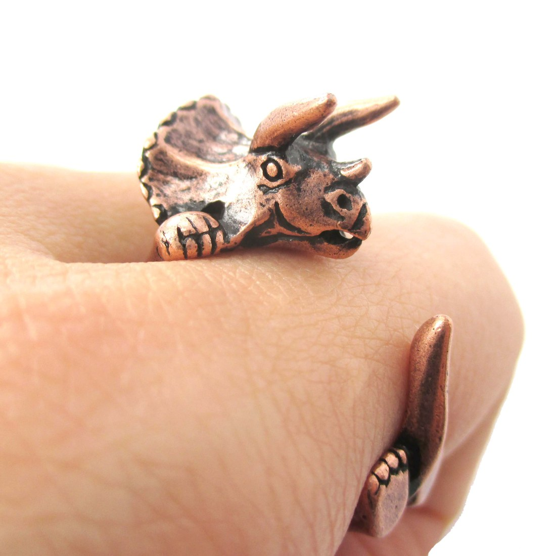 Large Triceratops Dinosaur Animal Wrap Around Hug Ring in Copper | Sizes 4 - 8.5