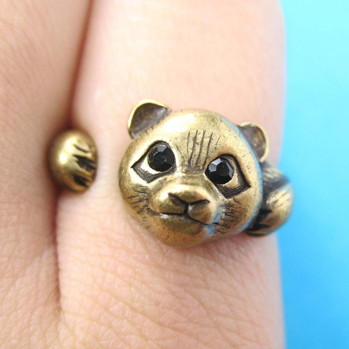 Realistic Panda Bear Animal Wrap Around Hug Ring in Brass Sizes 4 to 8.5
