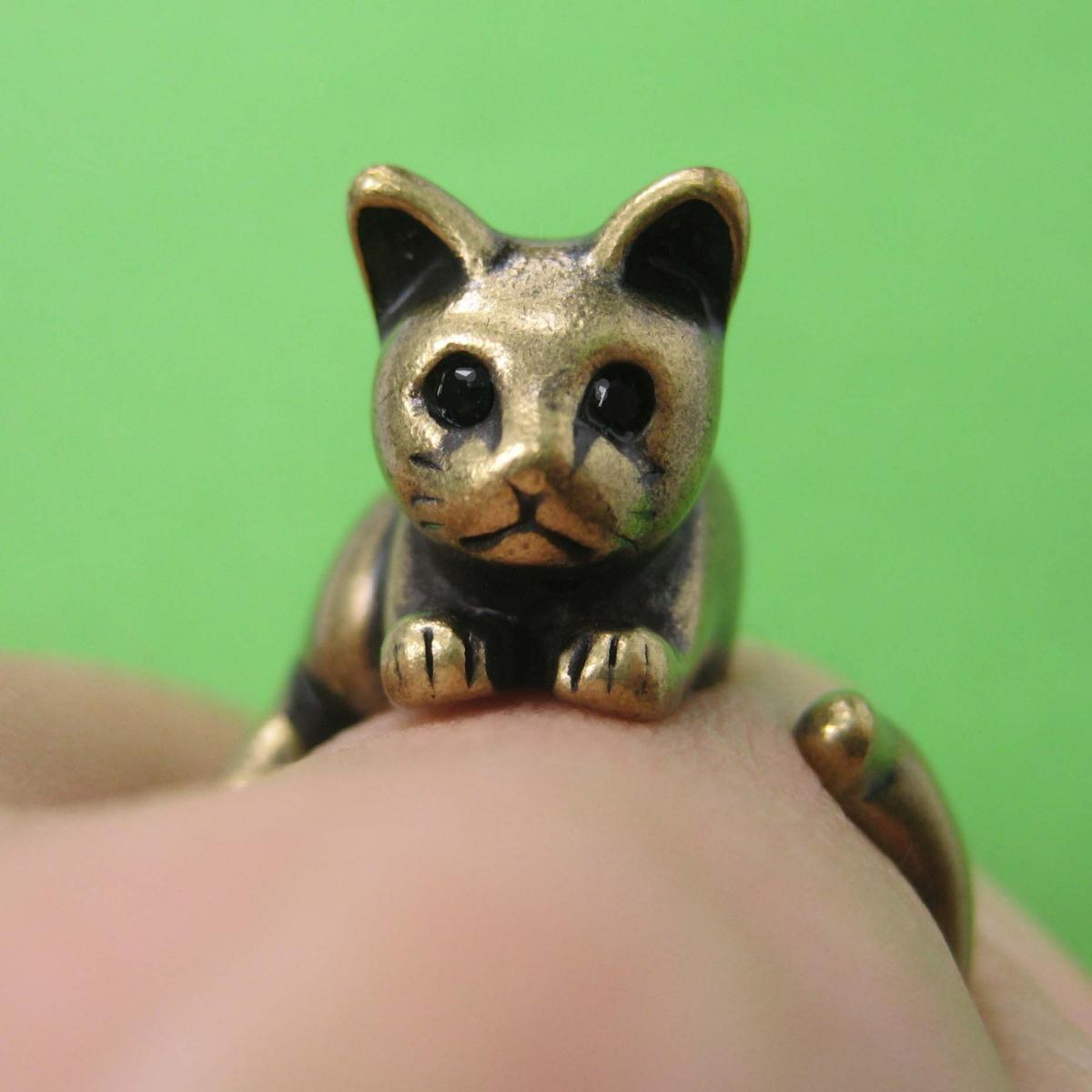 Kitty Cat Animal Pet Wrap Around Hug Ring in Brass Sizes 4 to 9