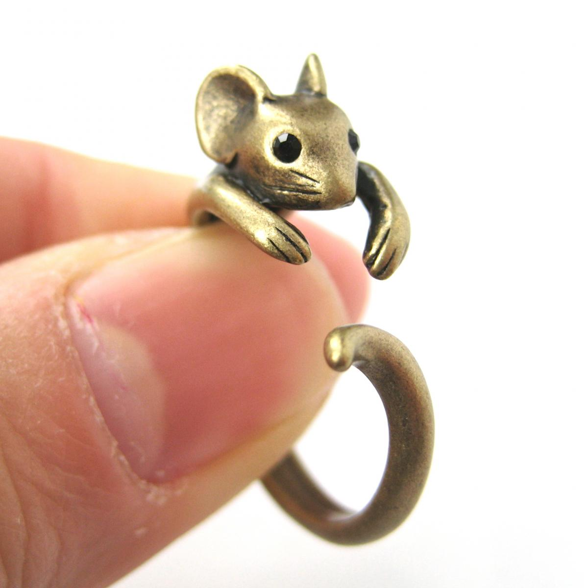Realistic Mouse Animal Wrap Around Hug Ring in Brass - Sizes 4 to 9