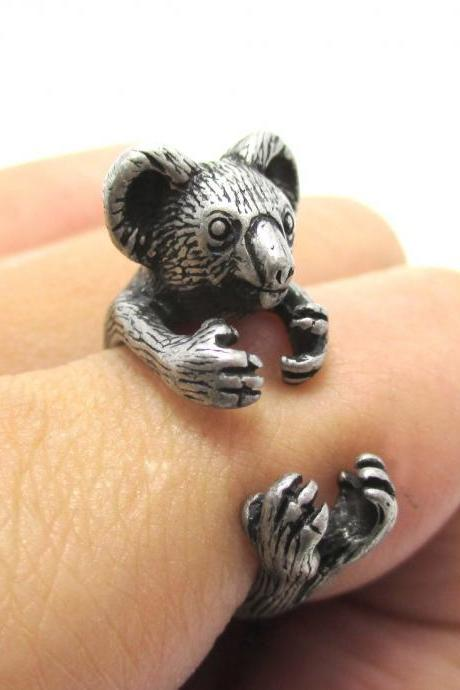 3D Koala Bear Animal Wrap Around Your Finger Ring in Silver | Size 4 to 8.5