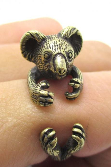 3D Koala Bear Animal Wrap Around Your Finger Ring in Brass | Size 4 to 8.5