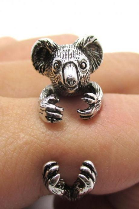 3D Koala Bear Animal Wrap Around Your Finger Ring in Shiny Silver | Size 4 to 8.5