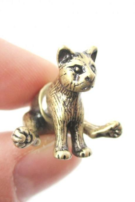 3D Sitting Cat Figurine Shaped Fake Ear Gauge Stud Earrings in Bronze