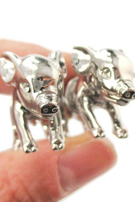 3D Realistic Piglet Pig Shaped Fake Gauge Earrings in Shiny Silver