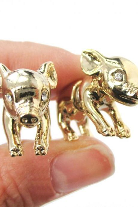 3D Realistic Piglet Pig Shaped Fake Gauge Earrings in Shiny Gold
