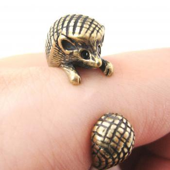 Hedgehog Animal Wrap Ring in Bronze Sizes 4 to 9 US Realistic and Cute!