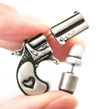 3D Fake Gauge Realistic Gun and Bullet Stud Earrings in Silver