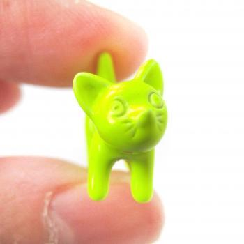 3D Fake Gauge Adorable Kitty Cat Animal Stud Earrings in Neon Yellow