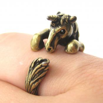 3D Unicorn Horse Animal Hug Wrap Ring in Brass - Sizes 5 to 9 Available