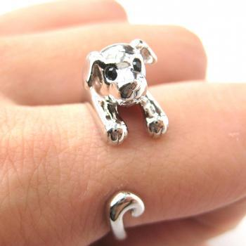 Realistic Puppy Dog Animal Pet Wrap Around Ring in Shiny Silver Sizes 4 to 9