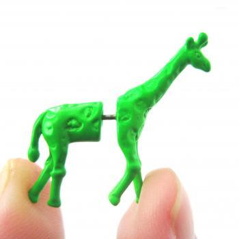 Fake Gauge Realistic Giraffe Animal 3D Plug Stud Earrings in Green