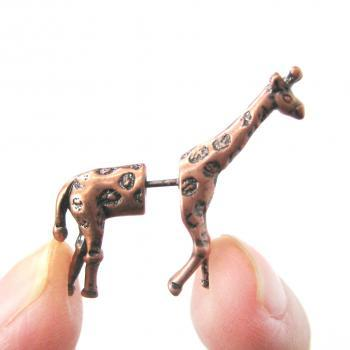 Fake Gauge Realistic Giraffe Animal 3D Plug Stud Earrings in Copper