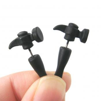 3D Fake Gauge Realistic Hammer Tool Stud Earrings in Black for Men and Women