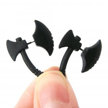 Axe Shaped Fake Gauge 3D Plug Stud Earrings for Men and Women in Black