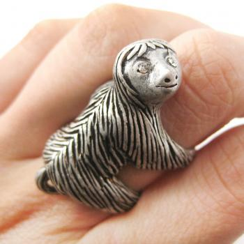 Large Sloth Shaped Animal Hug Wrap Ring in Silver - US Sizes 4 to 9