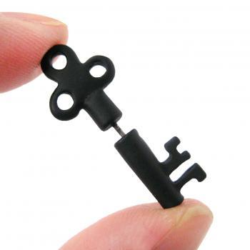 3D Fake Gauge Realistic Antique Key Shaped Stud Earrings in Black