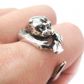Realistic Otter With Fish Animal Wrap Ring in Shiny Silver | Sizes 4 to 9 US Available