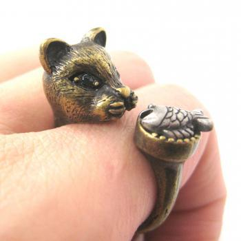 LARGE KITTY CAT AND FISH SHAPED ANIMAL RING IN BRASS | SIZES 7 TO 11