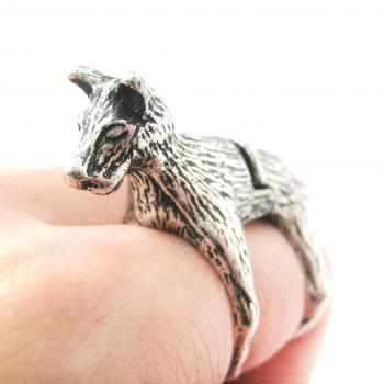 LARGE DOG SHAPED ARMOR JOINT KNUCKLE ANIMAL RING IN SILVER | SIZE 5 TO 9