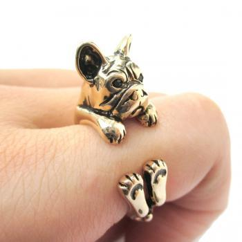 Realistic French Bulldog Shaped Animal Ring in Shiny Gold | Size 4 to 8.5