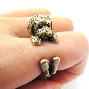 Realistic Toy Poodle Shaped Animal Wrap Ring in Bronze | Size 4 to 8.5