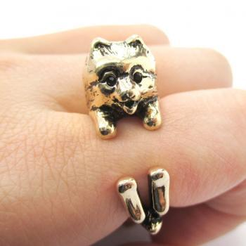 Realistic Pomeranian Shaped Animal Wrap Ring in Shiny Gold | Size 4 to 8.5