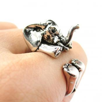 3D Baby Elephant Animal Wrap Around Ring in Shiny Silver | Size 5 to 8.5