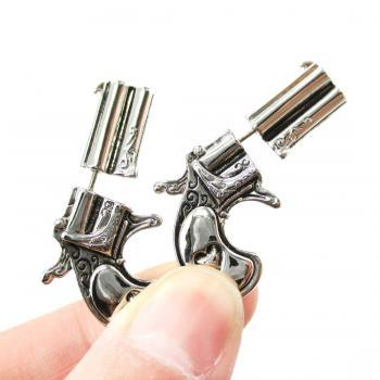 3D Fake Gauge Realistic Double Pistol Gun Stud Earrings in Shiny Silver