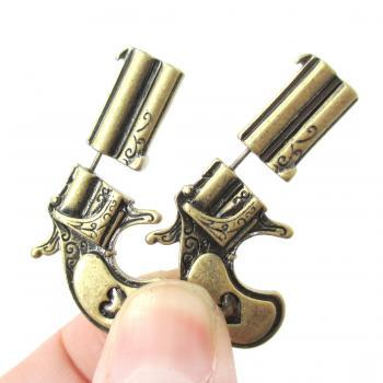 3D Fake Gauge Realistic Double Pistol Gun Stud Earrings in Bronze