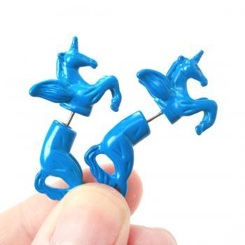 Unicorn Pegasus Horse Animal Fake Gauge 3D Plug Stud Earrings in Bright Blue