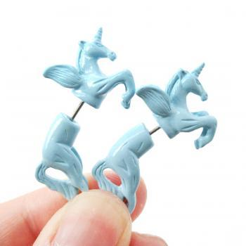 Unicorn Pegasus Horse Animal Fake Gauge 3D Plug Stud Earrings in Pale Blue