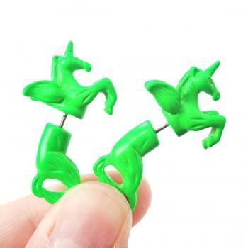Unicorn Pegasus Horse Animal Fake Gauge 3D Plug Stud Earrings in Bright Green