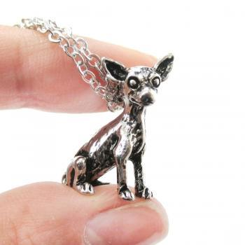 3D Detailed Chihuahua Animal Charm Dog Lover Themed Necklace in Shiny Silver