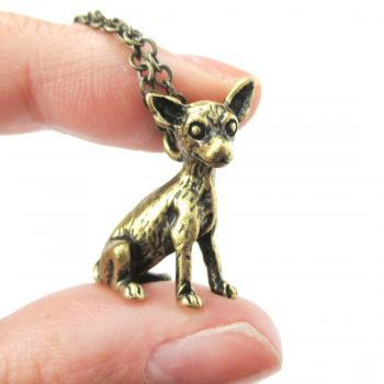 3D Detailed Chihuahua Animal Charm Dog Lover Themed Necklace in Brass
